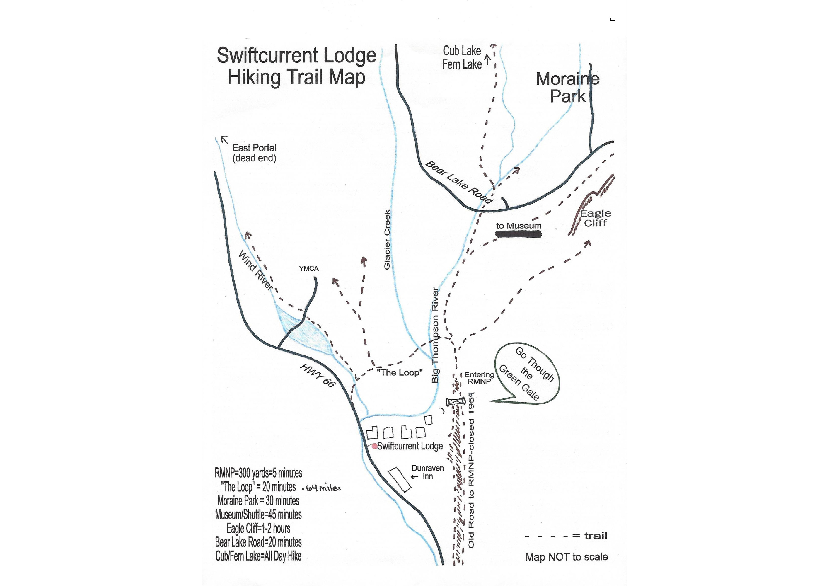 Swiftcurrent Lodge on the River in Estes Park, CO - Hiking Map